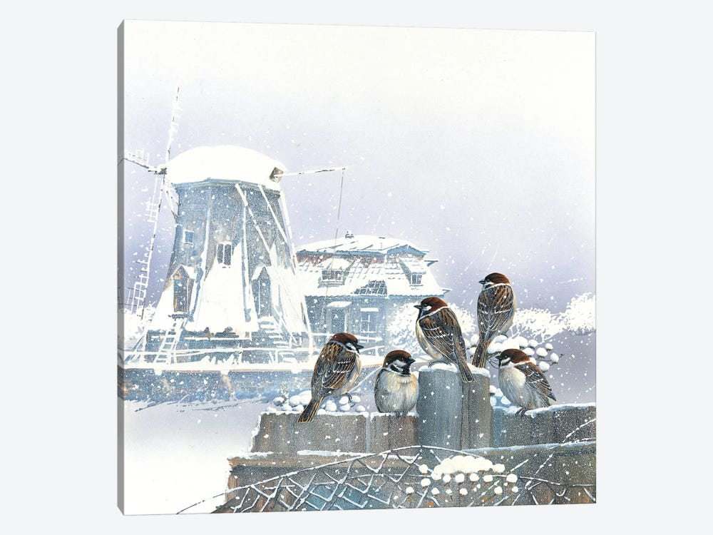 Birdies And Windmill by Jan Weenink 1-piece Canvas Art Print