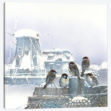 Birdies And Windmill Canvas Print #WEE10} by Jan Weenink Art Print