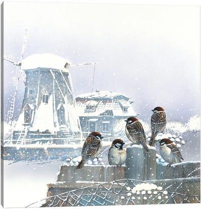 Birdies And Windmill Canvas Art Print