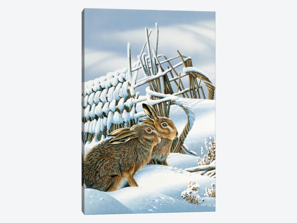 Bunnies In The Snow by Jan Weenink 1-piece Art Print
