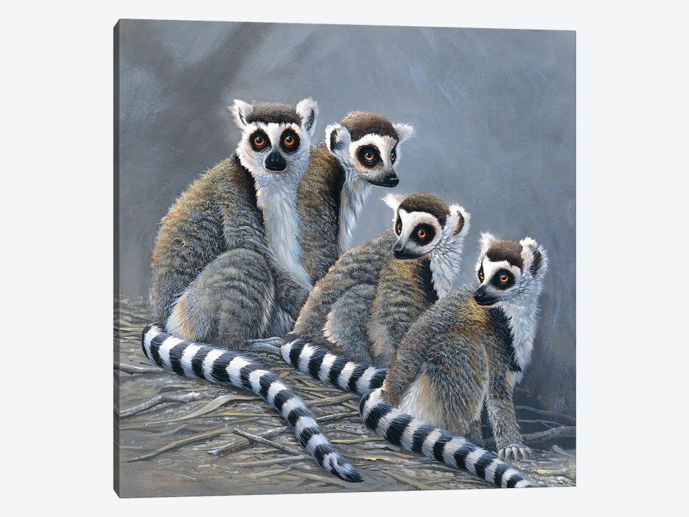 Four Monkeys by Jan Weenink 1-piece Canvas Wall Art