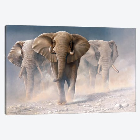 Running Elephants I Canvas Print #WEE36} by Jan Weenink Canvas Wall Art