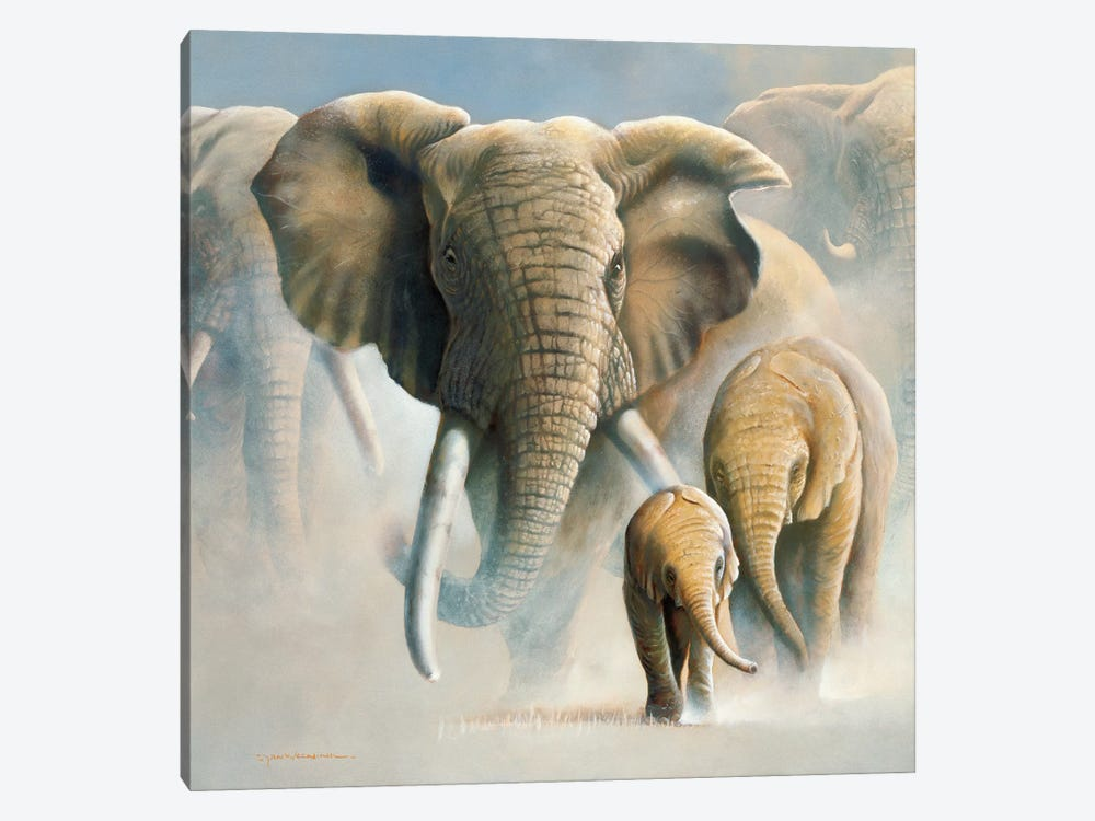 Running Elephants II by Jan Weenink 1-piece Canvas Art