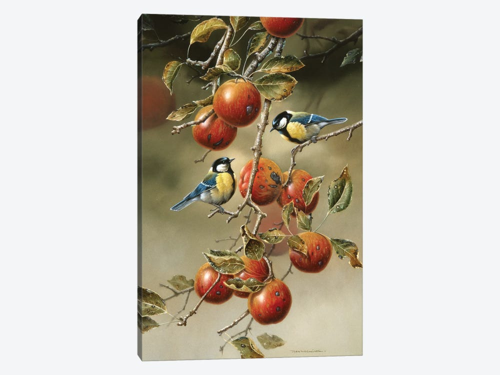 Two Birds In An Apple Tree 1-piece Canvas Artwork