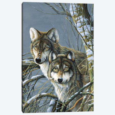 Two Wolves Canvas Print #WEE46} by Jan Weenink Art Print