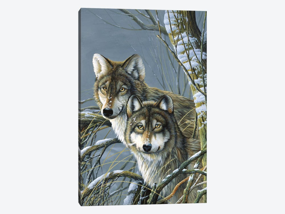 Two Wolves by Jan Weenink 1-piece Canvas Wall Art