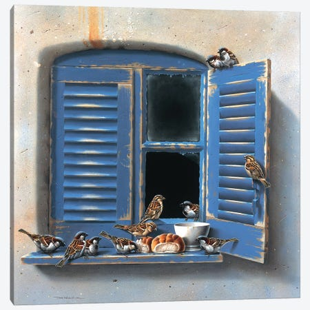 Visiting Birds I Canvas Print #WEE49} by Jan Weenink Canvas Art