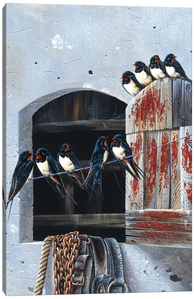 Window With Nine Birds Canvas Art Print
