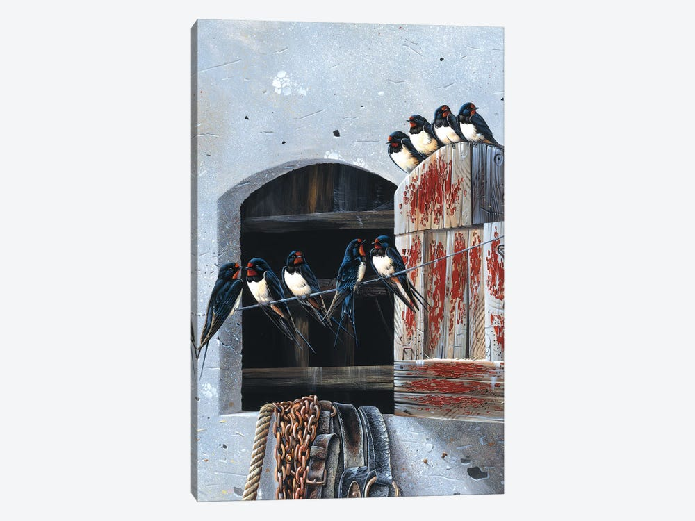 Window With Nine Birds by Jan Weenink 1-piece Canvas Wall Art