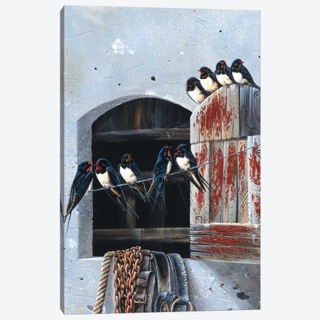 Window With Nine Birds Canvas Print #WEE51} by Jan Weenink Art Print