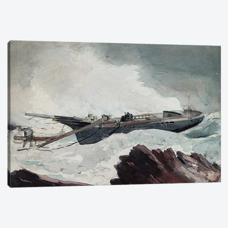 The Wrecked Schooner Canvas Print #WHO2} by Winslow Homer Canvas Artwork