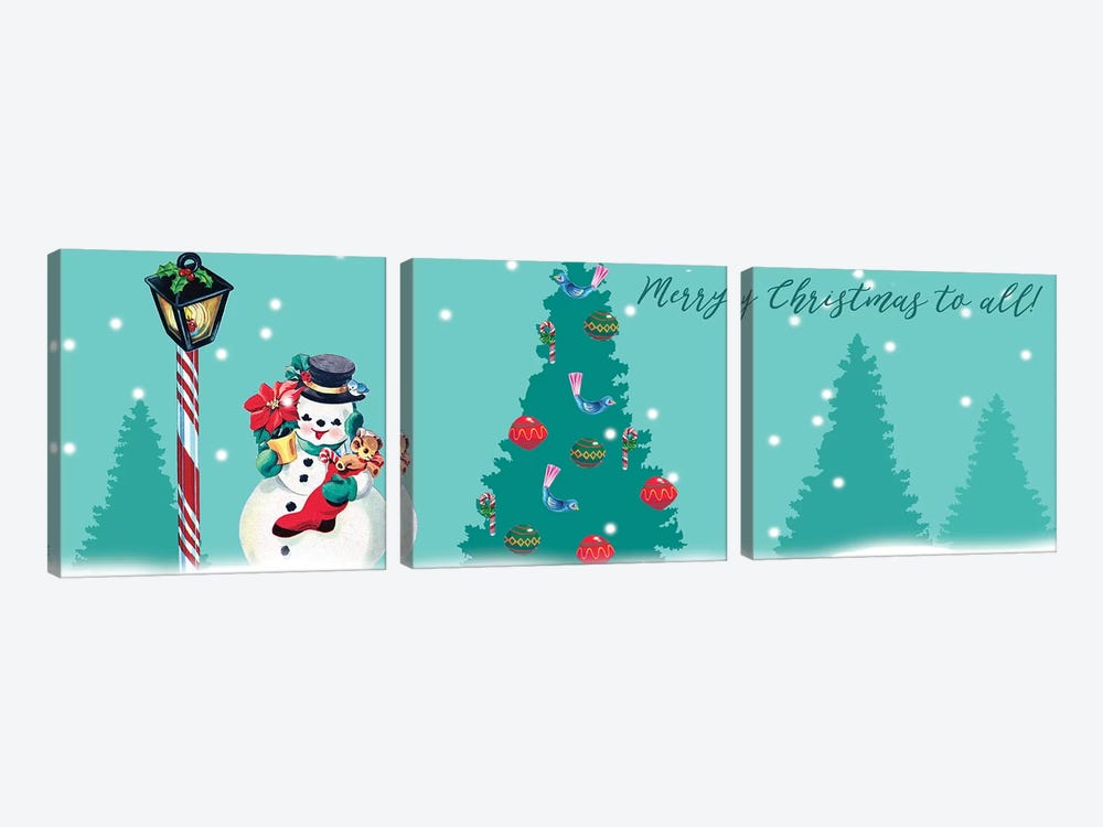 1955 Christmas Collection D by Alicia Ludwig 3-piece Canvas Print