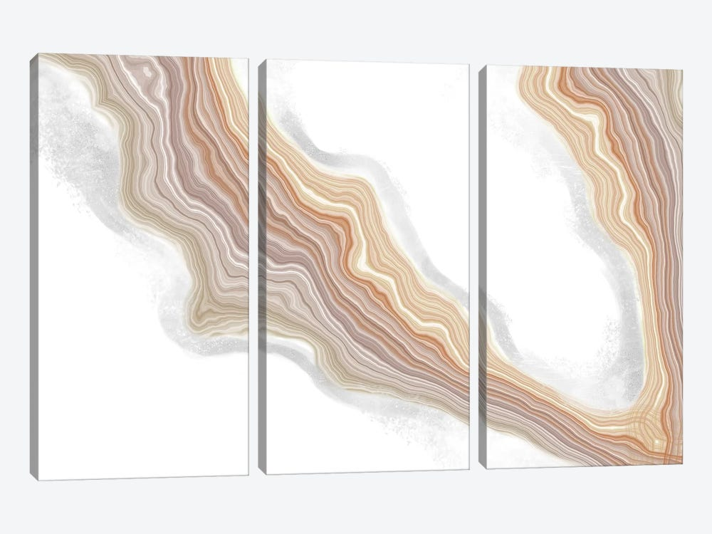 Ecru Deviation Iridescence by 5by5collective 3-piece Canvas Art Print