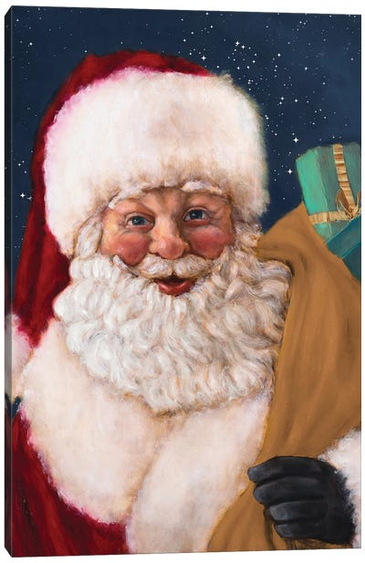 Jolly Saint Nick With Starry Night Canvas Art Print