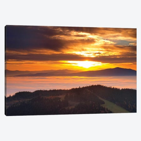 Sunset In Beskid Wyspowy III Canvas Print #WKB105} by Wiktor Baron Canvas Wall Art