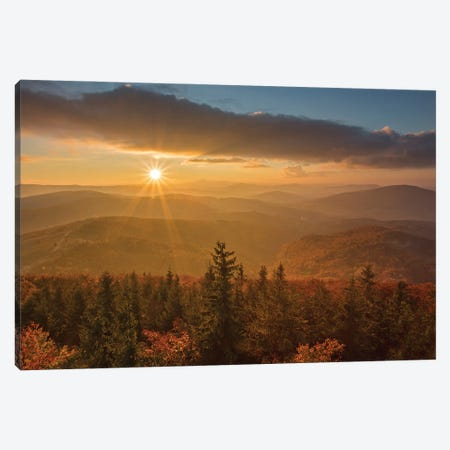 Sunset In Mogielica Mount Canvas Print #WKB113} by Wiktor Baron Canvas Wall Art