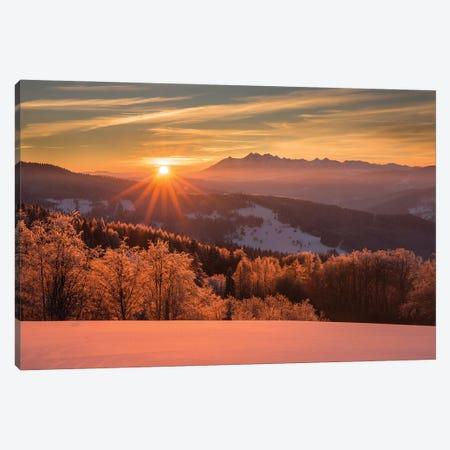Sunset In Wierchomla Mała II Canvas Print #WKB121} by Wiktor Baron Canvas Print