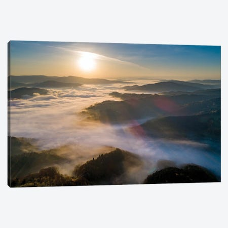 Fog In Beskid Sądecki Canvas Print #WKB30} by Wiktor Baron Canvas Art Print