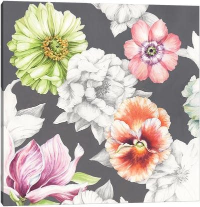 Floral Sketch on Grey Canvas Art Print
