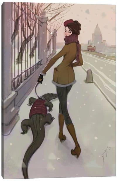 Walking With Croco Canvas Art Print