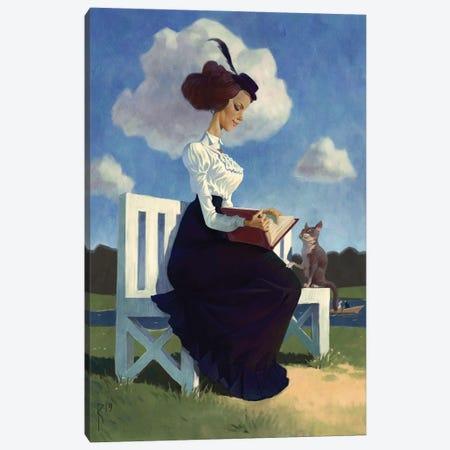 Girl With A Book Canvas Print #WKZ20} by Waldemar Kazak Canvas Artwork