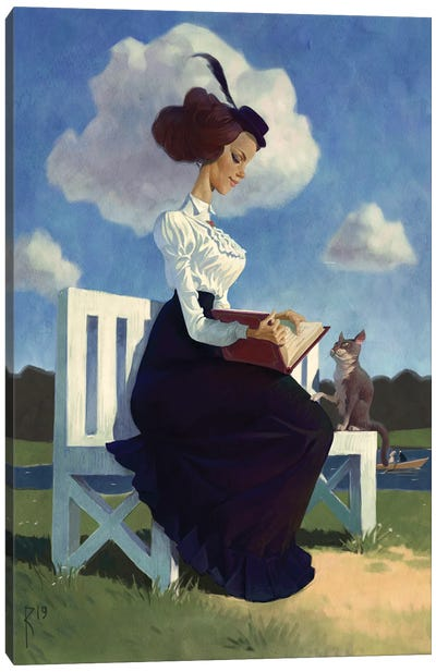 Girl With A Book Canvas Art Print