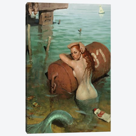 Mermaid2017 Canvas Print #WKZ6} by Waldemar Kazak Canvas Art