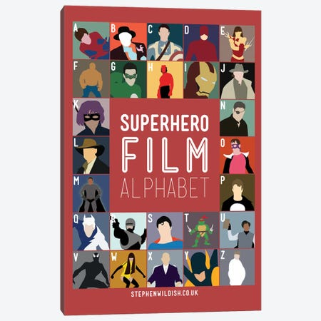 Superhero Alphabet Canvas Print #WLD103} by Stephen Wildish Art Print
