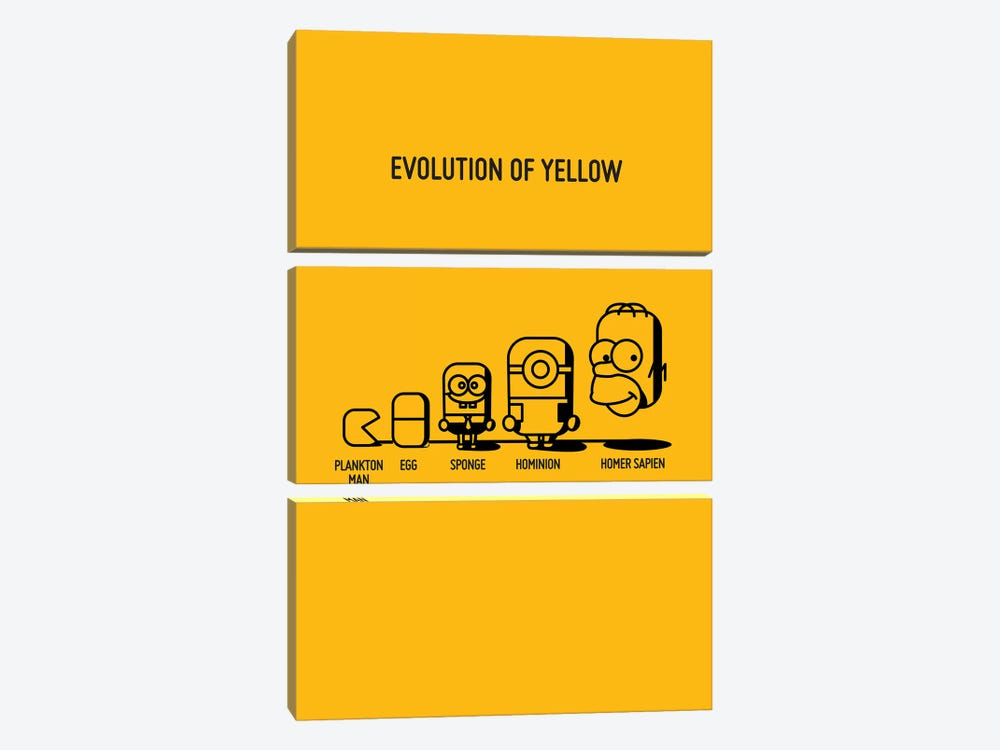 Evolution Of Yellow 3-piece Canvas Art