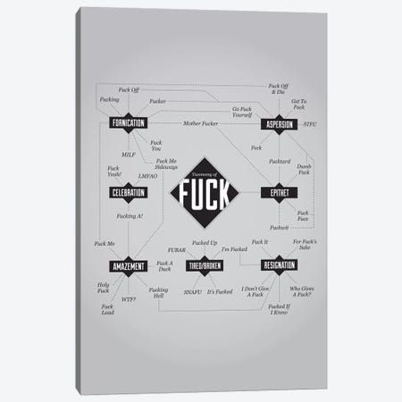 Fuck Canvas Print #WLD42} by Stephen Wildish Art Print