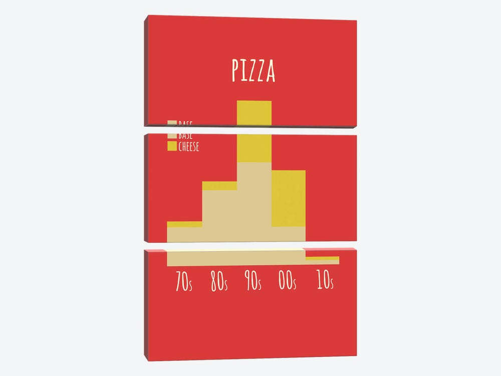 Pizza by Stephen Wildish 3-piece Canvas Art Print