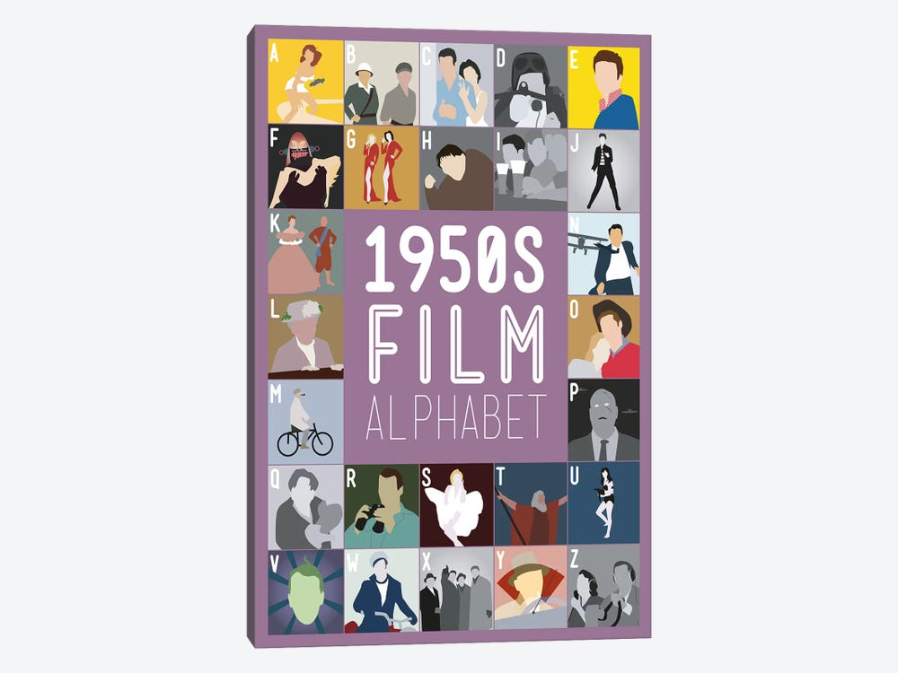 1950s Film Alphabet by Stephen Wildish 1-piece Canvas Art