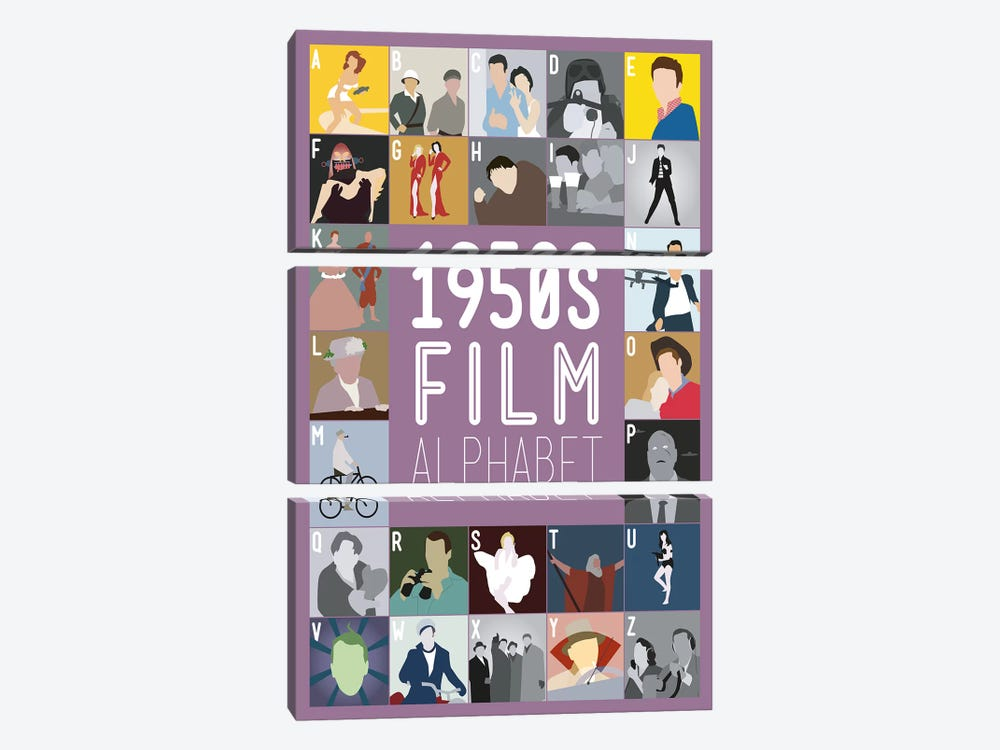 1950s Film Alphabet by Stephen Wildish 3-piece Canvas Art