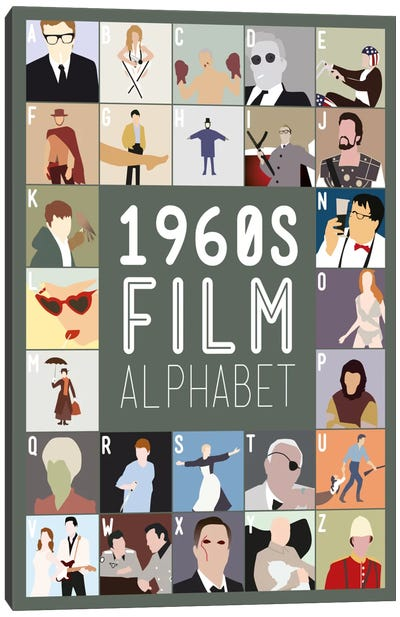 1960s Film Alphabet Canvas Art Print