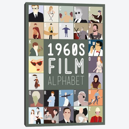 1960s Film Alphabet Canvas Print #WLD80} by Stephen Wildish Art Print