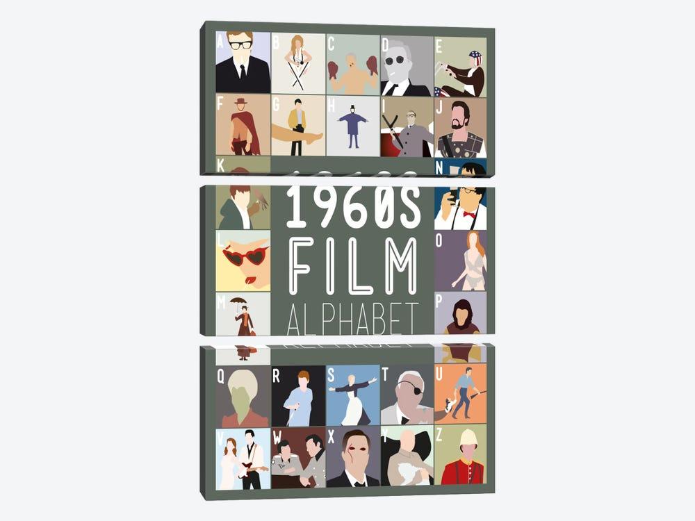 1960s Film Alphabet by Stephen Wildish 3-piece Canvas Wall Art
