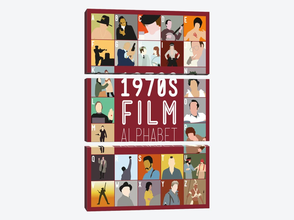 1970s Film Alphabet by Stephen Wildish 3-piece Canvas Print
