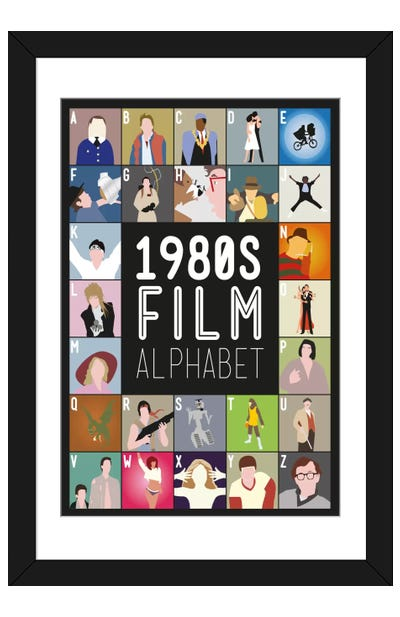 1980s Film Alphabet Framed Art Print