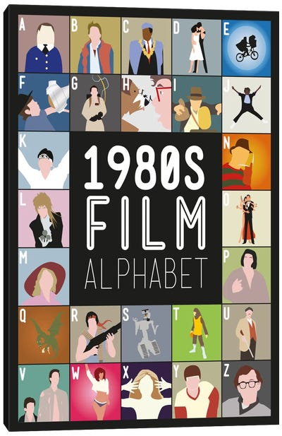 1980s Film Alphabet Canvas Art Print