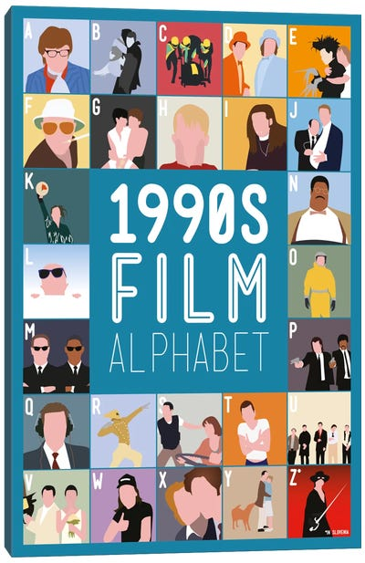 1990s Film Alphabet Canvas Art Print