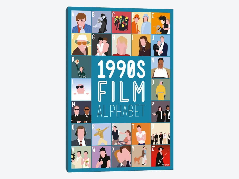 1990s Film Alphabet by Stephen Wildish 1-piece Canvas Print