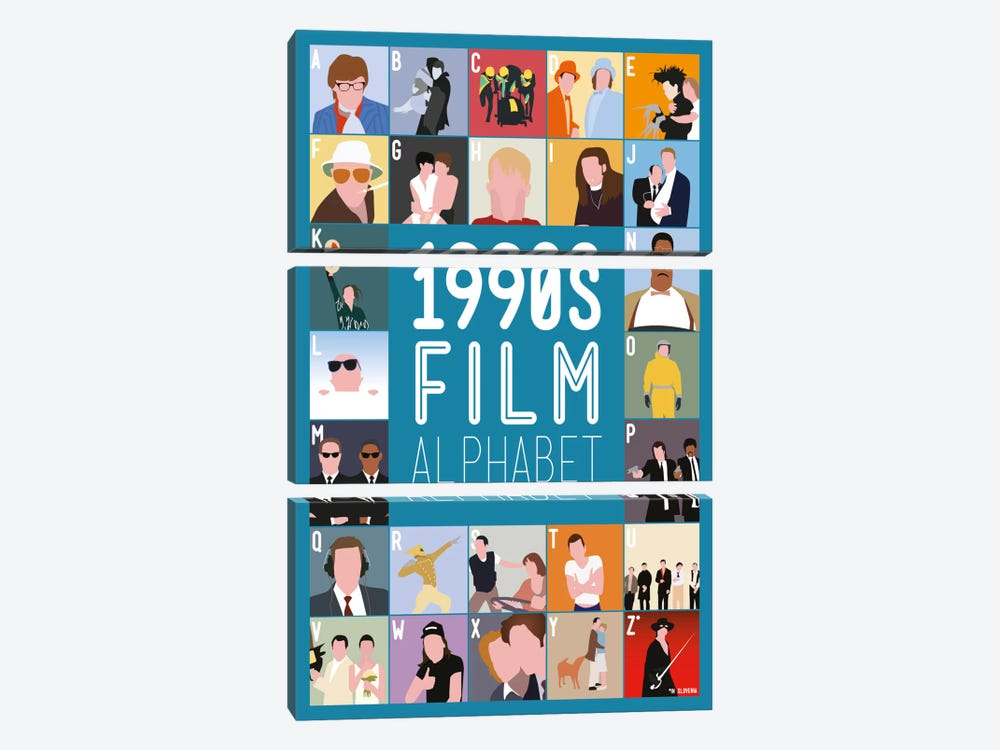1990s Film Alphabet by Stephen Wildish 3-piece Canvas Art Print
