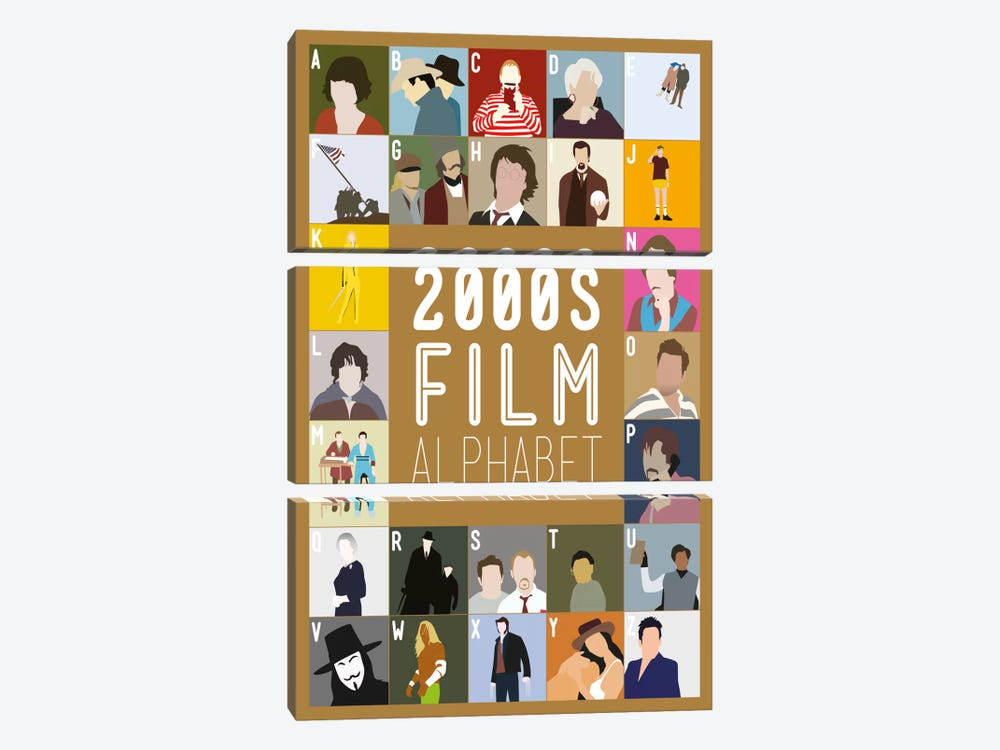 2000s Film Alphabet by Stephen Wildish 3-piece Canvas Art