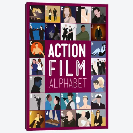 Action Film Alphabet Canvas Print #WLD85} by Stephen Wildish Canvas Artwork