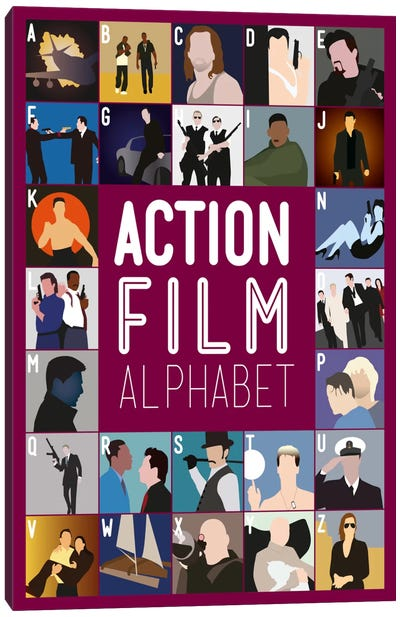 Action Film Alphabet Canvas Art Print