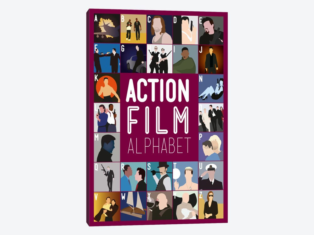 Action Film Alphabet by Stephen Wildish 1-piece Canvas Print