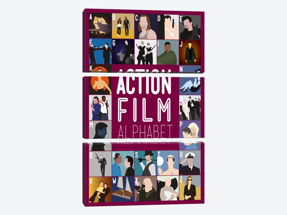 Action Film Alphabet by Stephen Wildish 3-piece Canvas Art Print