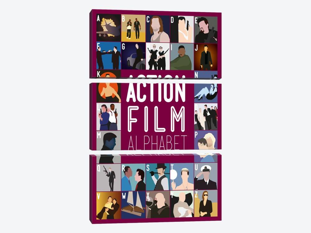 Action Film Alphabet by Stephen Wildish 3-piece Canvas Art Print