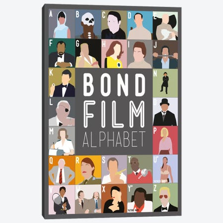 Bond Film Alphabet Canvas Print #WLD87} by Stephen Wildish Canvas Art
