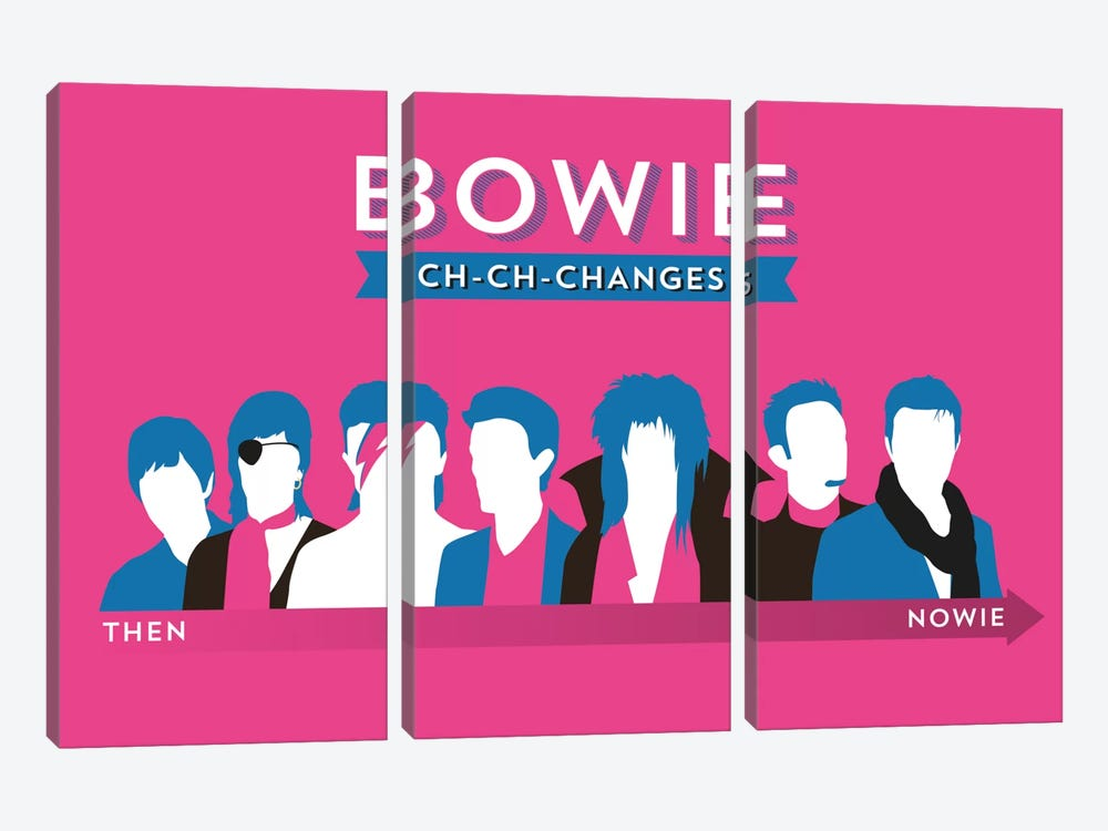 Bowie Ch-Ch-Changes by Stephen Wildish 3-piece Canvas Art Print